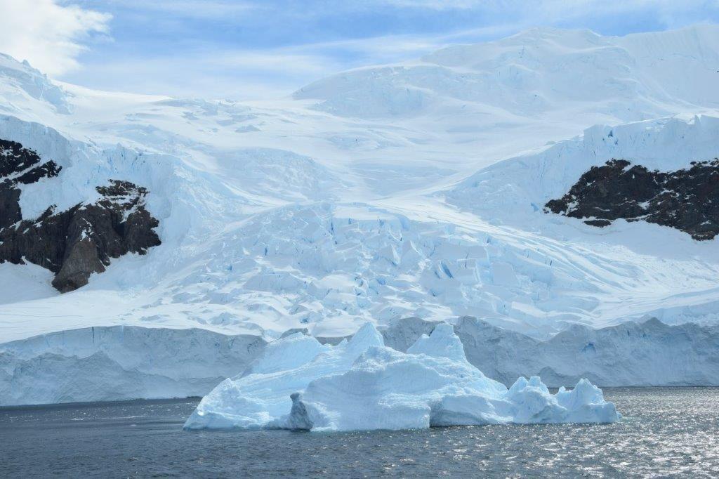 Blue Iceberg and Glacier, Neko Harbor, Antarctica