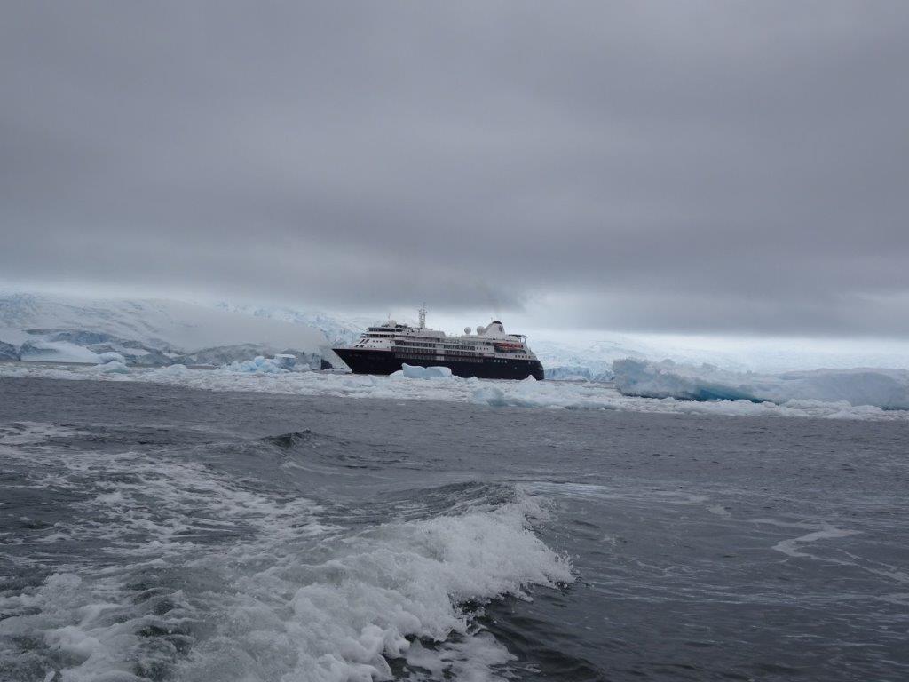 Leaving the Silver Cloud, Cerva Cove, Antarctica