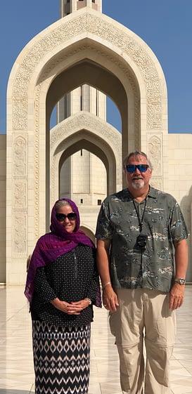 Madeline Showing Respect, Sultan Qaboos Grand Mosque, Bawshar Masqat, Oman