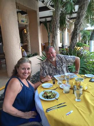 Madeline and Paul at Dinner, Sunset Fishermen, Playa del Carmen, Mexico