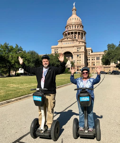 Madeline and Paul, Segway Tour, State Capitol, Austin, Texas