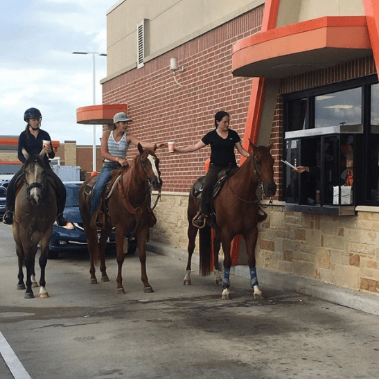 Horseback Riders, Drive-thru, Whataburger Restaurant, Texas