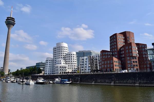 Rhine Tower and Neuer Zollhof Complex, Rhine River, Dusseldorf, Germany