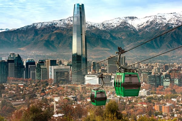 Aerial View from San Cristobal Hill Cable Lift, Santiago, Chile