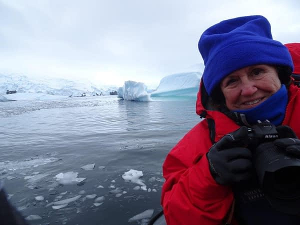 Madeline on Zodiac Tour, Cerva Cove, Antarctica