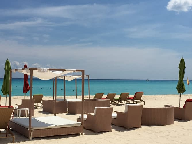 Lounge Chairs on the Beach, Sunset Fishermen, Playa del Carmen, Mexico