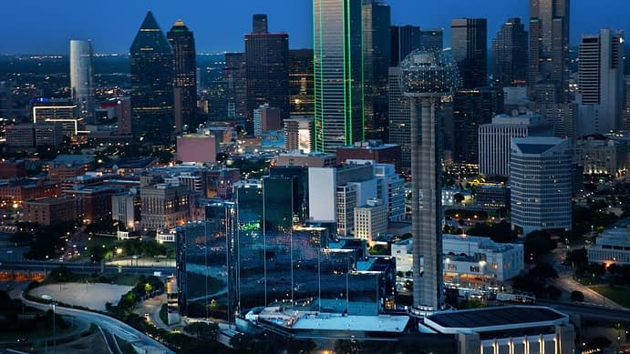 Aerial View at Night, Dallas, Texas