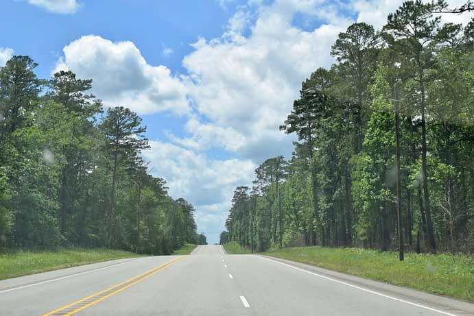 Driving through Davy Crockett National Forest, Texas