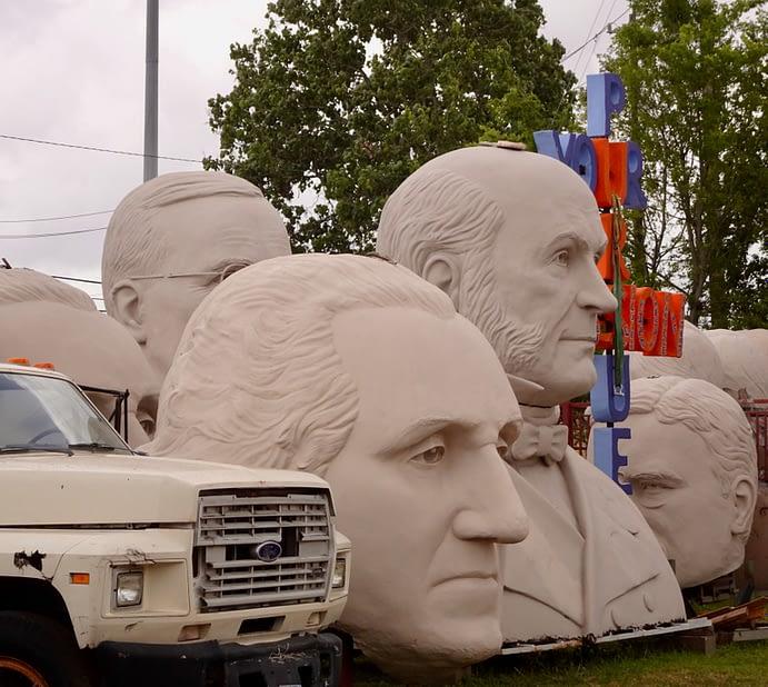 President Busts and Truck, David Adickes Workshop, Houston, Texas