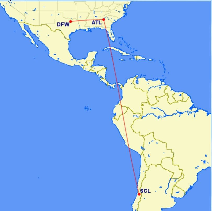 Flying from DFW to ATL to SCL Santiago Chile