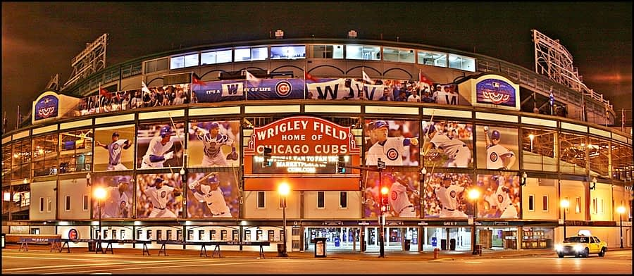 Night view of Wrigley Field, home of the Chicago Cubs.