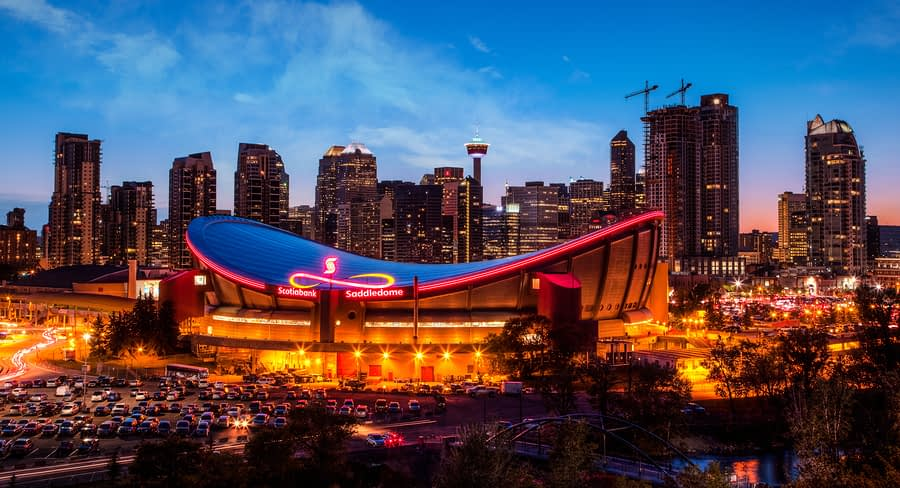 Panorama of Calgary Skyline including Scotiabank Saddledome Arena and Calgary Tower, Calgary, Alberta, Canada