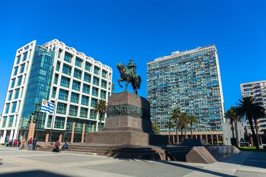 Statue of General José Gervasio Artigas in Plaza Independencia, Montevideo, Uruguay