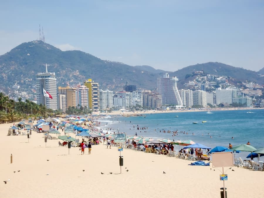 Beach and Beachgoers, Acapulco, Mexico