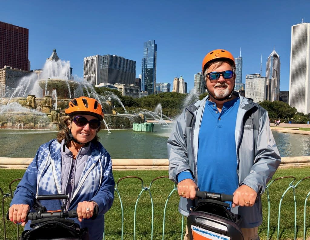 Paul and Madeline at Buckingham Fountain on Absolutely Chicago Segway Tours, Chicago, Illinois