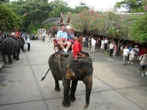 Paul and Madeline on an Elephant
